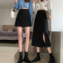 skirt Autumn 2020 S,M,L Grey skirt, black skirt, grey skirt, black skirt Short skirt Versatile High waist A-line skirt Solid color Type A 18-24 years old other