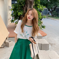 Fashion suit Summer 2021 Average size Green top, black top, green skirt, black skirt 18-25 years old 31% (inclusive) - 50% (inclusive) cotton