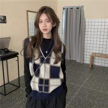 sweater Autumn 2020 Average size Plaid vest Socket singleton  polyester fiber 31% (inclusive) - 50% (inclusive) V-neck Regular