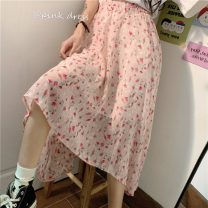 skirt Spring 2021 Average size Apricot, pink Mid length dress commute High waist 18-24 years old Korean version