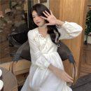 Dress Spring 2021 white S,M,L Middle-skirt singleton  Long sleeves Sweet bow