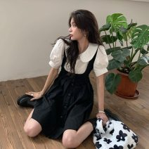 Dress Summer 2021 Shirt, suspender skirt S. M, l, average size Middle-skirt Short sleeve commute Doll Collar High waist Solid color Socket Pleated skirt routine Others 18-24 years old Type A Korean version bow 51% (inclusive) - 70% (inclusive) Chiffon polyester fiber