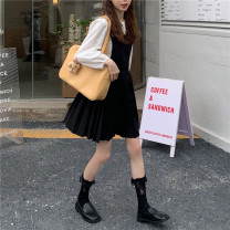 Dress Spring 2021 Shirt, pleated skirt Average size Middle-skirt singleton  Sleeveless commute Crew neck middle-waisted Solid color Pleated skirt routine Others 18-24 years old Type A Korean version 31% (inclusive) - 50% (inclusive) other cotton
