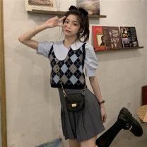 Fashion suit Summer 2021 S. M, average size Shirt piece, vest piece, pleated skirt piece Under 17 31% (inclusive) - 50% (inclusive)