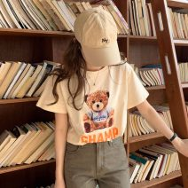 T-shirt Apricot, grey, white Average size Summer 2021 Short sleeve Regular cotton 96% and above