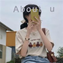 T-shirt Apricot, white, black Average size Summer 2021 Short sleeve other easy Regular routine commute cotton 96% and above 18-24 years old Korean version youth Solid color printing