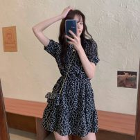 Dress Summer 2021 Black flowers, apricot flowers Average size Short skirt singleton  Short sleeve commute Crew neck High waist other Pleated skirt routine Others Type A Korean version fold 31% (inclusive) - 50% (inclusive)
