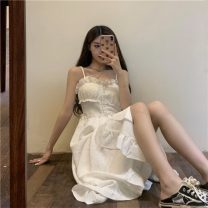 Dress Spring 2021 White dress 8372, black dress 8372, denim blue coat 5382# S. M, average size singleton  Sleeveless One word collar High waist Solid color Socket routine 18-24 years old Type A 51% (inclusive) - 70% (inclusive) cotton