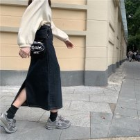 skirt Autumn 2020 S,M,L,XL Smoky grey Mid length dress commute High waist skirt Solid color Type H 71% (inclusive) - 80% (inclusive) Denim 001 (Consumer Electronics) cotton pocket lady