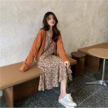 Fashion suit Winter 2020 Average size Orange cardigan 124, white cardigan 124, orange suspender skirt 125, green suspender skirt 125