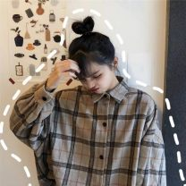 shirt Khaki, blue Average size Winter of 2018 polyester fiber 51% (inclusive) - 70% (inclusive) Long sleeves commute Medium length Polo collar Single row multi button Bat sleeve lattice 18-24 years old Other / other Korean version 803#
