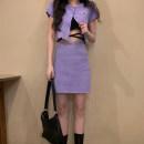 Fashion suit Summer 2021 Average size Black top, blue top, purple top, black skirt, blue skirt, purple skirt 51% (inclusive) - 70% (inclusive) Viscose