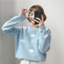 sweater Winter 2017 Average size White, pink, sky blue Long sleeves Socket singleton  Regular acrylic fibres 95% and above Crew neck Regular commute Straight cylinder Regular wool Keep warm and warm 18-24 years old Other / other