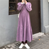 Dress Autumn 2020 Black, purple Average size longuette singleton  Long sleeves commute square neck High waist Solid color Socket A-line skirt routine Others 18-24 years old Type A Other / other Korean version fold 81% (inclusive) - 90% (inclusive) corduroy cotton