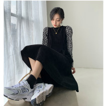 Dress Spring 2021 Black, brown S,M,L longuette singleton  Long sleeves commute Crew neck High waist Broken flowers Socket A-line skirt routine Others 25-29 years old Type A Other / other Korean version Splicing 51% (inclusive) - 70% (inclusive) corduroy other