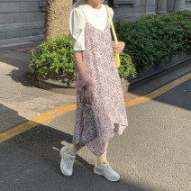 Dress Autumn 2020 Lotus root color Average size Mid length dress singleton  Sleeveless commute V-neck High waist Broken flowers Socket A-line skirt routine camisole 18-24 years old Type A Other / other Korean version printing 81% (inclusive) - 90% (inclusive) Chiffon polyester fiber