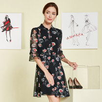 Dress Summer of 2019 Flower black Mid length dress singleton  elbow sleeve commute other Socket Big swing other Others 35-39 years old Anna Ko Ol style More than 95% polyester fiber