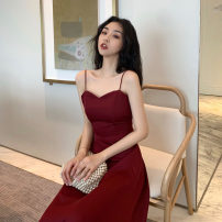 Dress Summer 2021 Red, black S,M,L singleton  Sleeveless street middle-waisted Solid color other camisole Type A Other / other 31% (inclusive) - 50% (inclusive) Chiffon polyester fiber