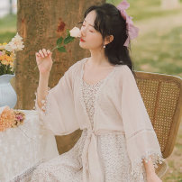 Lace / Chiffon Summer 2021 Apricot, white S,M,L Nine point sleeve Versatile Cardigan singleton  easy Regular V-neck Solid color pagoda sleeve 18-24 years old x3318# Bows, ruffles, fringes, stitching 81% (inclusive) - 90% (inclusive) cotton