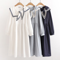 Dress Spring 2021 White, blue, navy Average size singleton  Long sleeves Sweet Admiral Solid color Socket Princess Dress routine Sticking cloth , Button , pocket , Asymmetry , Splicing , Embroidery 51% (inclusive) - 70% (inclusive) cotton