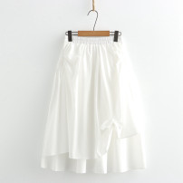 skirt Summer 2021 Average size white Mid length dress Sweet Natural waist Solid color Type A N 81% (inclusive) - 90% (inclusive) cotton