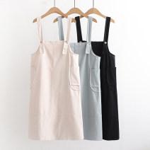 Dress Summer 2021 Blue, apricot, black Average size Sweet Solid color pocket F 51% (inclusive) - 70% (inclusive) cotton