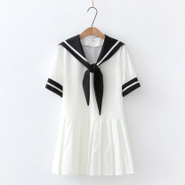 Dress Summer 2021 White, blue, black Average size Short sleeve Sweet Admiral other routine G 51% (inclusive) - 70% (inclusive) cotton princess