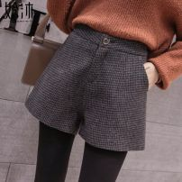 Casual pants Dark gray check, CAG, 8228 camel, 9770 khaki, 9770 khaki, 9770 black, 6536 khaki, 6536 gray, 6536 black, black pants [Plush] S,M,L,XL,2XL Winter of 2019 shorts Wide leg pants High waist commute routine 18-24 years old 96% and above Empty 13 Halmun Korean version Button
