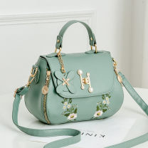 Bag Inclined shoulder bag PU Saddle bag Tianyan brand new Japan and South Korea in leisure time soft Cover type no Plants and flowers Single root One shoulder portable messenger Yes youth Saddle shape Embroidery Soft handle polyester fiber Zipper sandwich pocket soft surface Bag with cover