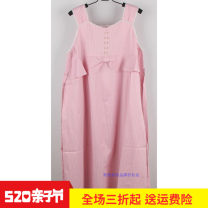 Dress Sandy  Pink Average size leisure time Sleeveless have more cash than can be accounted for summer One word collar stripe chemical fiber