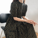 Dress Summer 2021 Broken flowers M, L Mid length dress singleton  Short sleeve commute Crew neck High waist Decor zipper A-line skirt puff sleeve Type A Korean version Zipper, print LH8922 81% (inclusive) - 90% (inclusive) other other