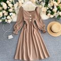 Dress Spring 2021 Black, dark grey, khaki, brown S,M,L Middle-skirt singleton  Long sleeves commute square neck High waist Solid color Socket A-line skirt puff sleeve Others 18-24 years old Type A Button 31% (inclusive) - 50% (inclusive) other other