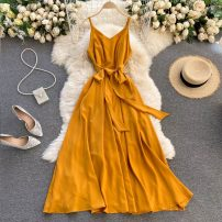 Dress Spring 2021 Black, white, red, yellow, dark green, light green S,M,L Middle-skirt singleton  commute V-neck High waist Solid color Socket Big swing Others 18-24 years old Type A Korean version 30% and below other other