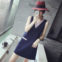 Dress Summer of 2018 Navy White S M L XL Short skirt singleton  Sleeveless commute V-neck Loose waist Solid color Socket A-line skirt routine Others Type A Korean version Pocket stitching nine hundred and four thousand five hundred and sixty-two