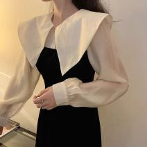 Dress Autumn of 2019 Picture color S,M,L,XL longuette Fake two pieces Long sleeves commute Double collar High waist Solid color Socket A-line skirt routine Others 18-24 years old Type A Korean version More than 95% other other