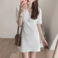 Dress Summer 2020 Apricot, white S,M,L,XL Short skirt singleton  Short sleeve commute V-neck middle-waisted Solid color Socket A-line skirt routine Others Type X Other / other Korean version Bow tie
