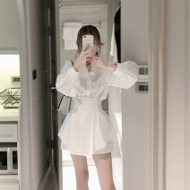 Dress Spring of 2019 white S,M,L,XL Short skirt Two piece set Long sleeves commute Polo collar High waist Solid color Single breasted A-line skirt routine Others Type A Retro Bandage