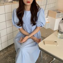 Dress Summer 2021 Sky blue, white, pink, green, yellow Average size longuette singleton  Short sleeve commute Crew neck High waist Solid color Socket A-line skirt puff sleeve Others 18-24 years old Type A Korean version fold