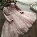 Dress spring and autumn princess Cotton blended fabric A-line skirt Solid color Class B female Other / other Cotton 80% others 20% Three, four, five, six, seven, eight Long sleeve D203 Pink Princess long sleeve yarn skirt, gray Princess long sleeve yarn skirt 90cm,100cm,110cm,120cm,130cm,140cm