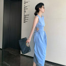 Dress Summer 2021 Blue, black S, M Mid length dress singleton  Sleeveless commute High waist Solid color other Others Dream trend Korean version D2968-A1 51% (inclusive) - 70% (inclusive) other polyester fiber