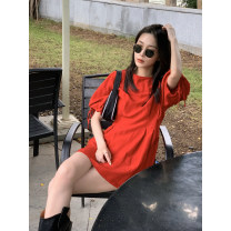 Dress Summer 2020 Red, classic black Average size Short skirt singleton  elbow sleeve commute Crew neck High waist Solid color A-line skirt puff sleeve Others Type X literature Fold, lace up hemp