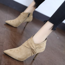 Boots 34,35,36,37,38,39 Apricot, black Suede Other / other Super high heel (over 8cm) Fine heel Suede Short tube Sharp point cotton cotton Autumn 2020 Side zipper Korean version rubber Solid color Martin boots Adhesive shoes Artificial short plush Youth (18-40 years old) winter routine
