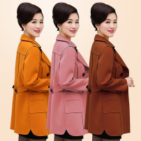 Middle aged and old women's wear Spring of 2019 fashion Two piece set Solid color 40-49 years old Cardigan Polo collar Medium length routine pocket double-breasted Medium length