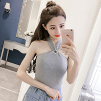 Vest sling Summer of 2018 White, black, brown Average size singleton  have cash less than that is registered in the accounts Self cultivation Versatile Hanging neck style Solid color 18-24 years old 30% and below polyester fiber CF00890