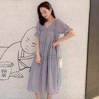 Women's large Summer 2020 Picture color Dress singleton  commute easy thin Socket Short sleeve Solid color Korean version V-neck Medium length other Three dimensional cutting routine 25-29 years old Three dimensional decoration 51% (inclusive) - 70% (inclusive) Medium length other