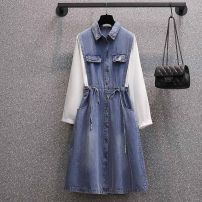 Women's large Spring 2021 blue L (recommendation 100-115), XL (recommendation 115-135), XXL (recommendation 135-150), 3XL (recommendation 150-170), 4XL (recommendation 170-195) Dress singleton  commute easy moderate Socket Long sleeves Solid color Korean version Polo collar Medium length cotton bow