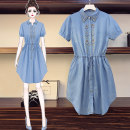 Women's large Summer 2021 Picture color Large XL, large XXL, large XXL, large XXXXL, large XXXXL Dress singleton  commute easy moderate Socket Short sleeve Solid color Korean version other Medium length Denim Embroidery
