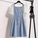Dress Summer 2021 wathet M,L,XL,2XL,3XL,4XL,5XL Mid length dress singleton  Short sleeve commute square neck High waist Solid color A-line skirt puff sleeve Type A Korean version