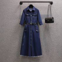 Women's large Spring 2021, summer 2021 5-sleeve dress + belt Large XL, large L, 2XL, 3XL, 4XL Dress singleton  commute easy moderate Cardigan elbow sleeve Solid color Korean version Polo collar Medium length cotton Three dimensional cutting routine Button longuette other