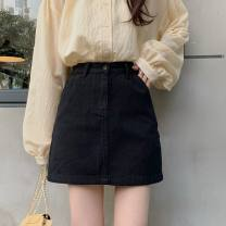 skirt Summer 2021 S,M,L,XL Black, white, purple, Burgundy, coffee, beige Short skirt commute High waist A-line skirt Solid color Type A 18-24 years old LMHX2735# More than 95% Denim Other / other cotton Pocket, make old Korean version 401g / m ^ 2 (inclusive) - 500g / m ^ 2 (inclusive)